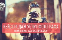 Кейс продаж услуг фотографа по методике быстрые продажи в Facebook